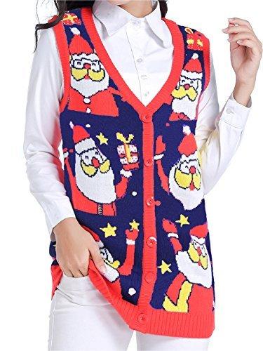 v28 Ugly Christmas Sweater, Women Girl Vintage Knit Xmas Fun Santa Sweater Vest (X-Large, Nightblue) -