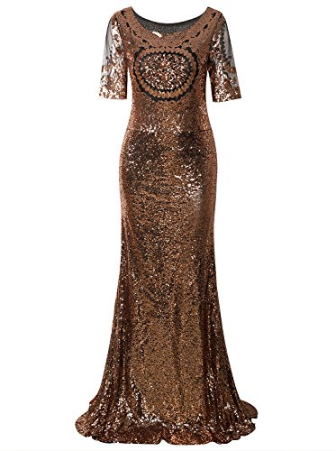 Vijiv Women's 1920s Long Mermaid Prom Dresses With Sleeves Sequin Beaded For Wedding Party (Prom Beaded Dress Mesh)