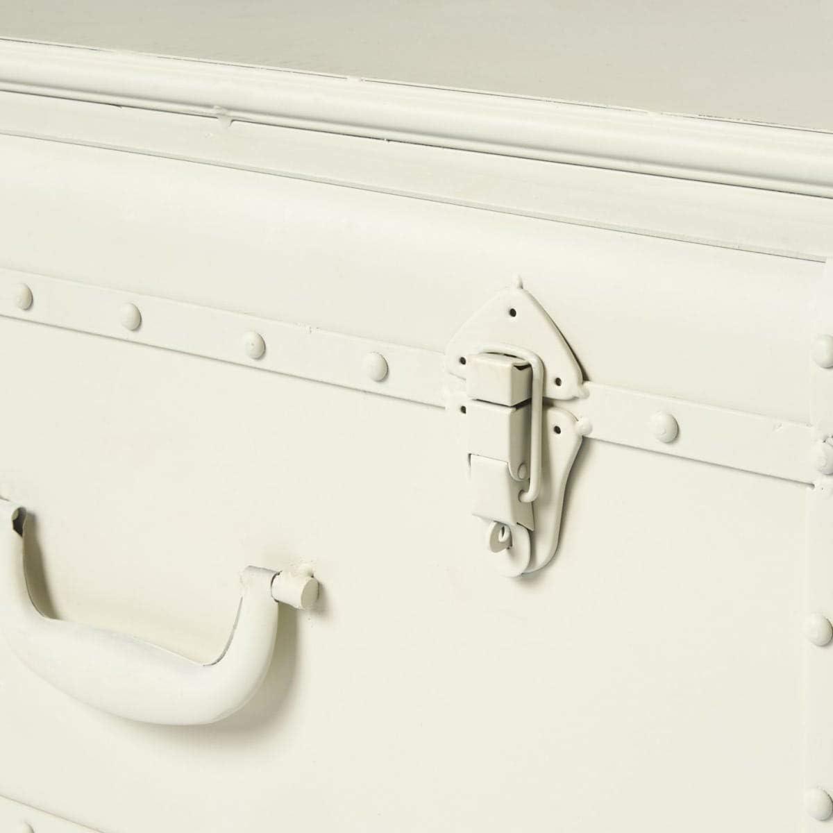 Antik-Wei/ß Industrial Loft Style Pureday Lowboard auf Rollen Metall