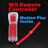 Red 2 In 1 Remote Controller Motion Plus Inside For Nintendo Wii