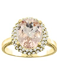 10K White/Yellow Gold Natural Morganite Double Halo Ring Oval 10x8mm Diamond Accent, sizes 5 - 10