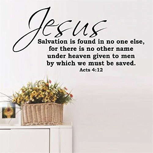 Wall Sticker Lettering Wall Art Sticker Removable Letters Quote Art Jesus Salvation is Found in no one Else]()