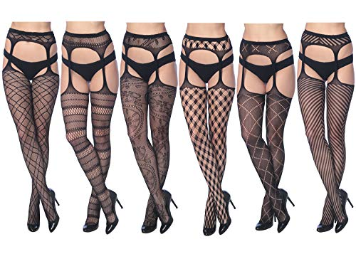 (Frenchic Women's Fishnet Lace Stockings Tights Sexy Pantyhose Extended Sizes (Pack of 6) (2005,)