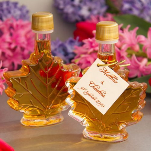 Maple Syrup Wedding Favor - Mansfield Maple Pure Vermont Maple Syrup Wedding Favors Set of 24 50ml Glass Leaf Bottles