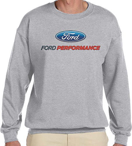 Amdesco Men's Ford Performance Logo, Officially Licensed Crewneck Sweatshirt, Heather Gray 2XL ()