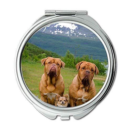 Mirror,Round Mirror,Funny Black Labrador Dog doga,pocket mirror,1 X 2X Magnifying