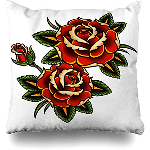 (Throw Pillow Cover Pillows Cases Summer Red Flower Tattoo Roses Pink Vine Thorn Pattern Border Outline Design Curl Home Decor Design Square 18 x 18 Inch Zippered Cushion Case)