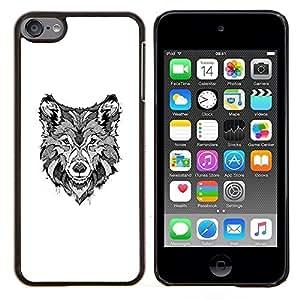 Dragon Case - FOR Apple iPod Touch 6 6th Generation - black white hound dog canine sketch - Caja protectora de pl??stico duro de la cubierta Dise?¡Ào Slim Fit