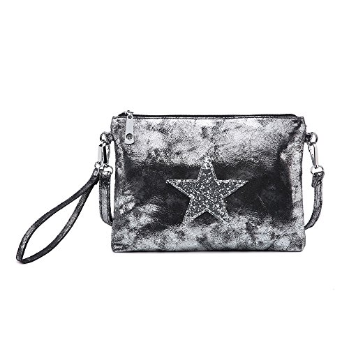 Star Small Sparkling Print Pewter Clutch Cross Wallet Shoulder Handbag Womens Wristlet Craze Bag Womens Body London Ladies with 8qcERxgzn