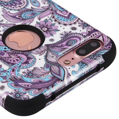 - for iPhone 7 Plus Case, Kaleidio [TUFF] Rugged Shockproof Hybrid 3-Piece Dual Layer Protective Heavy Duty Armor Cover [Includes a Overbrawn Prying Tool] [Blue & Purple Paisley]