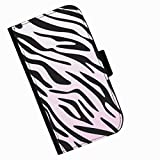 Hairyworm - Zebra print Acer Liquid Z220 leather side flip wallet cell phone case, cover with card slots, money slot and magnetic clasp to close.