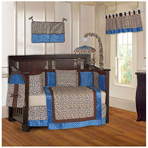 (BabyFad Leopard Blue 10 Piece Baby Crib Bedding Set)