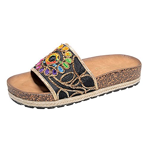 Women Rainbow Flower Print Single Strap Slippers Embroidered Cork Footbed Slides Hippie Slip On Shoes Espadrille Sandals Black 8