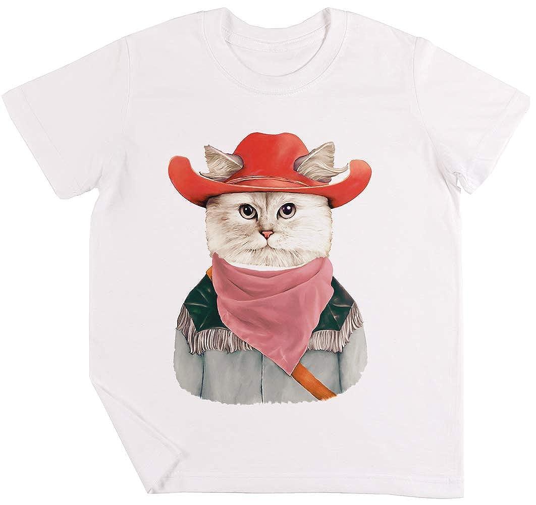Rodeo Gato Niños Chicos Chicas Unisexo Camiseta Blanco: Amazon.es ...