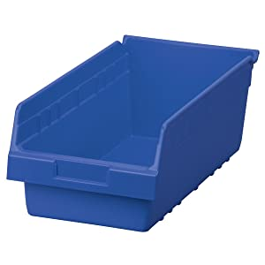 Akro-Mils 30088 ShelfMax Plastic Nesting Shelf Bin Box, 18-Inch L by 8-Inch W by 6-Inch H, Blue, Case of 8
