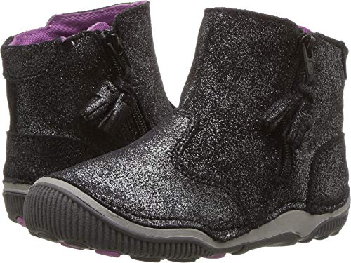 Stride Rite Zoe Toddler Girl's Lightweight Leather Boot Ankle, black sparkle, 9 M US Toddler