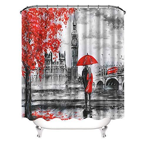 VividHome London Street Landscape Waterproof Shower...