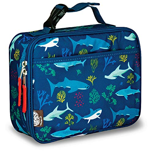 - LONECONE Kids' Insulated Fabric Lunchbox - Cute Patterns for Boys and Girls, Shark Bite, Standard with Buckle