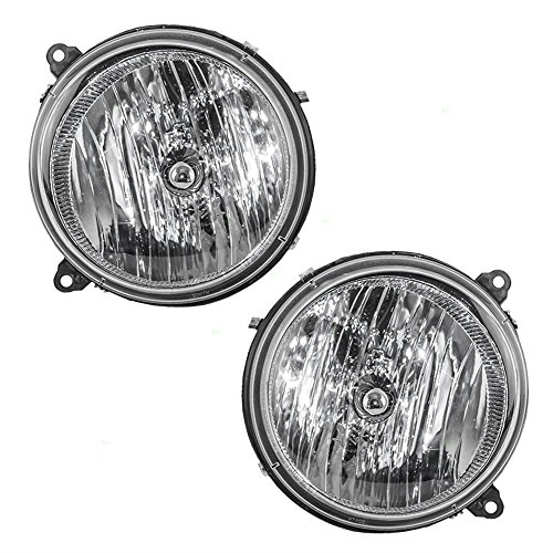Driver and Passenger Headlights Headlamps Replacement for Jeep SUV 55157141AA 55157140AA AutoAndArt