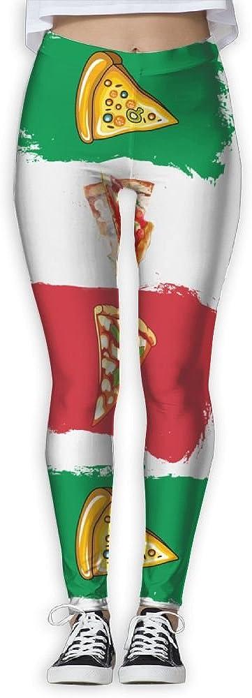 Pizza And Italy Flag Italian Printed Elastic High Waist Yoga Leggings For Women