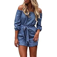 YINUOWEI Sexy Women Off Shoulder Demin Romper Half Sleeves Belted Jumpsuit
