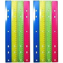 Officetek (8 Pack) 12 inch Plastic Transparent Color Ruler Straight Ruler Math Rulers