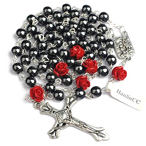 Hedi 6mm Hematite Beads with 8mm Coral Rose Glory Beads Catholic Rosary Pack in Velvet Bag ()
