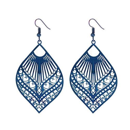 Stainless Steel Flat Colorful Hollow Cutout Filigree Teardrop Design Dangle Hook Earrings for Women, Blue