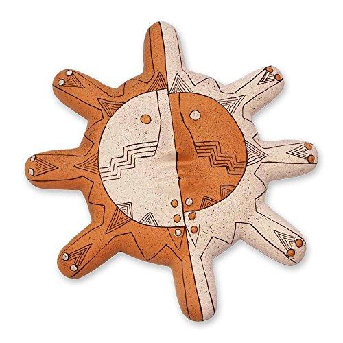 NOVICA Decorative Inca Ceramic Mask, Orange and Beige 'Nazca Sun' by NOVICA