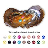 50PCS Triplets 6-7mm Round Akoya Cultured Pearl Oyster in Random Mixed 18 Colors