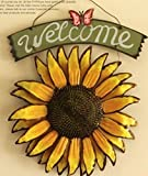 """SeaISee 12 """"x15"""" Vintage Hanging Butterfly Sunflower Welcome Sign Vintage Sunflower Decor for Door Hanging Home Decor"""