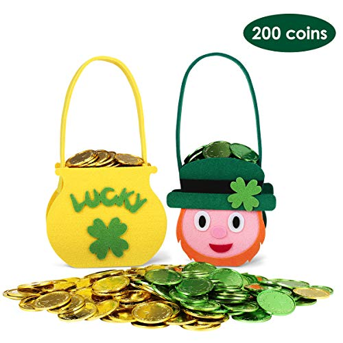 Unomor 2 pcs Felt St Patrick's Day Cauldron Pot with 200 pcs Coins for Saint Patricks Pot of Gold Party Supplies