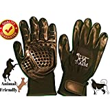 Pet Grooming Gloves by T-AIM Doggy, Bathing, Shedding, Combing and Massage Gloves for Long and Short Hair | Dogs, Horses, Cats | Includes One Pair