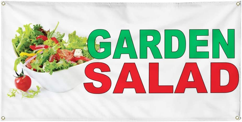 Vinyl Banner Multiple Sizes Garden Salad Green Red Food Bar Restaurant Truck Restaurant & Food Outdoor Weatherproof Industrial Yard Signs 10 Grommets 60x144Inches