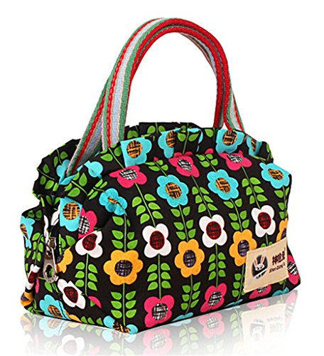 Canvas Floral Printed Unique Casual Tote Women Bag Green Jds® Leaves Fortuning's fxCq7Yw8w