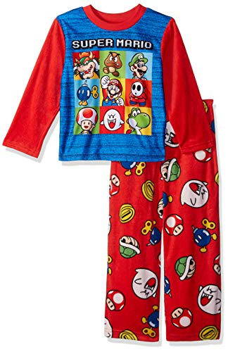 Super Mario Brothers Boys' Little Nintendo 2-Piece Fleece Pajama Set, Mario Punch red, 4]()