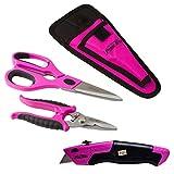 The Original Pink Box PBC3CUT Scissor, Cutter and Utility Knife Bundle