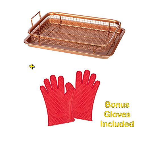 COPPER CRISPER TRAY FRYER WITH BONUS SILCONE GLOVES (AS SEEN ON TV) Turn your oven into an AIR FRYER - Non Stick Mesh Grill Crisper Tray - Multi Purpose Design - Healthy oil free option -