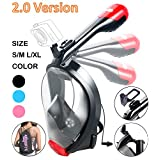 Full Face Snorkel Mask 2.0,2017 New Foldable Full Face Snorkeling Diving Scuba Mask with Detachable GoPro Mount Pivot Arm and Earplug, 180°Panoramic Easy Breath Anti-fog Anti-leak for Adults Youth
