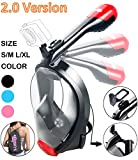 Full Face Snorkel Mask, 2017 New Foldable Snorkeling Mask Full Face with Detachable GoPro Mount Pivot Arm and Earplug, 180° Large View Easy Breath Dry Top Set Anti-fog Anti-leak for Adults L XL