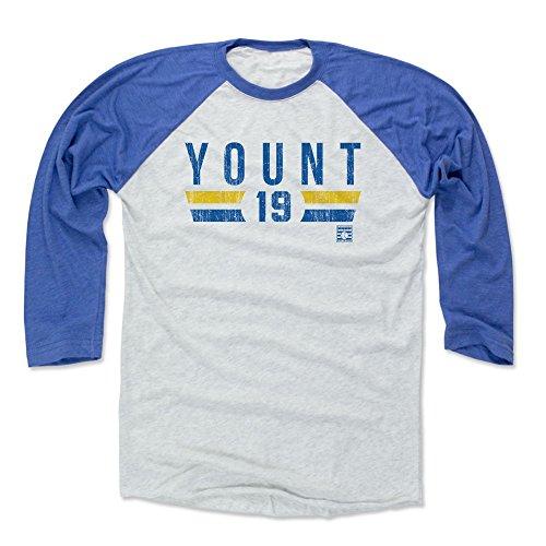 (500 LEVEL Robin Yount Baseball Tee Shirt (Large, Royal/Ash) - Milwaukee Brewers Raglan Tee - Robin Yount Font B)