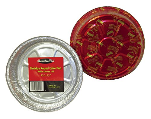 Durable Packaging Holiday Round Aluminum Cake Pan with Plastic Dome Lid, 8'' (Pack of 200) by Durable Packaging (Image #2)