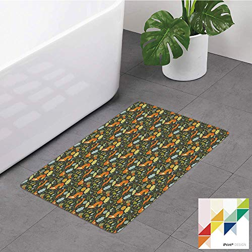 Memory Foam Bathroom Rugs, Woodland, Forest Fauna Design Fox Squirrel and Birds On Dark Toned Backdrop Nature Elements, Multicolor, Non-Slip Bath Mat Soft Absorbent Kitchen Rug Shower Floor Carpet (Squirrel Bird Woodland Bath)