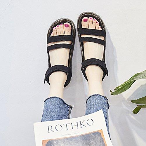 SOHOEOS Mädchen Sandalen für Frauen Damen Sommer junge Studenten neue Damen offene Zehe Plattform Plattform Plattform Schuhe Damen,36EU,Schwarz