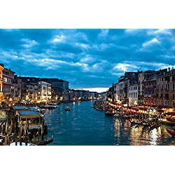 "Venice Italy the city - Art Print On Canvas Rolled Wall Poster Print - 36""x24"" (90x60cm) - Unframed"