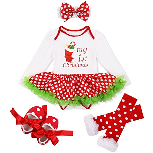 YiZYiF Baby Girl's 1st Christmas Party Tutu Costumes 4 Pieces Outfits Set (0-3 Months, Xmas Stocking Polka (Polka Dots Bloomers)