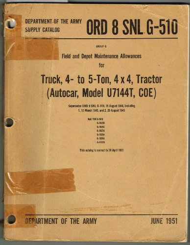 ORD 8 SNL G-510, SUPPLY CATALOG, GROUP G FIELD AND DEPOT MAINTENANCE ALLOWANCES FOR Truck, 4- to 5-Ton, 4 x 4, Tractor (Autocar, Model U7144T, COE)