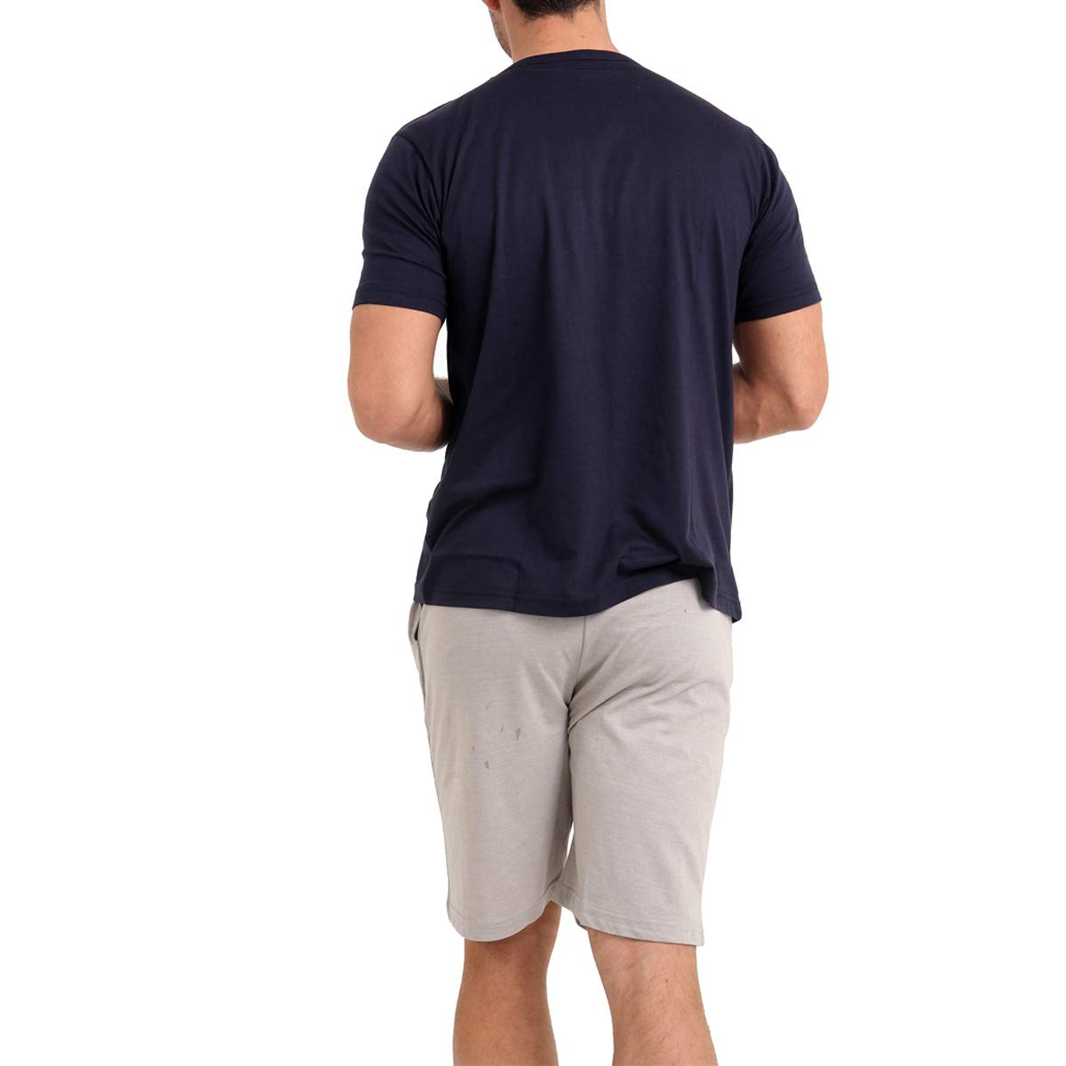 Mens T Shirt Shorts Set Plain Crew /& Button Neck Pyjamas Pjs Loungewear Set Multipack Gift Idea