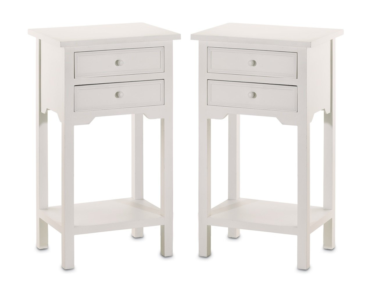 Amazon.com: Set of 2 Wood White End Tables Nightstands with Two Drawers:  Kitchen & Dining