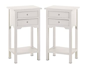 size 40 e4017 02667 Set of 2 Wood White End Tables Nightstands with Two Drawers